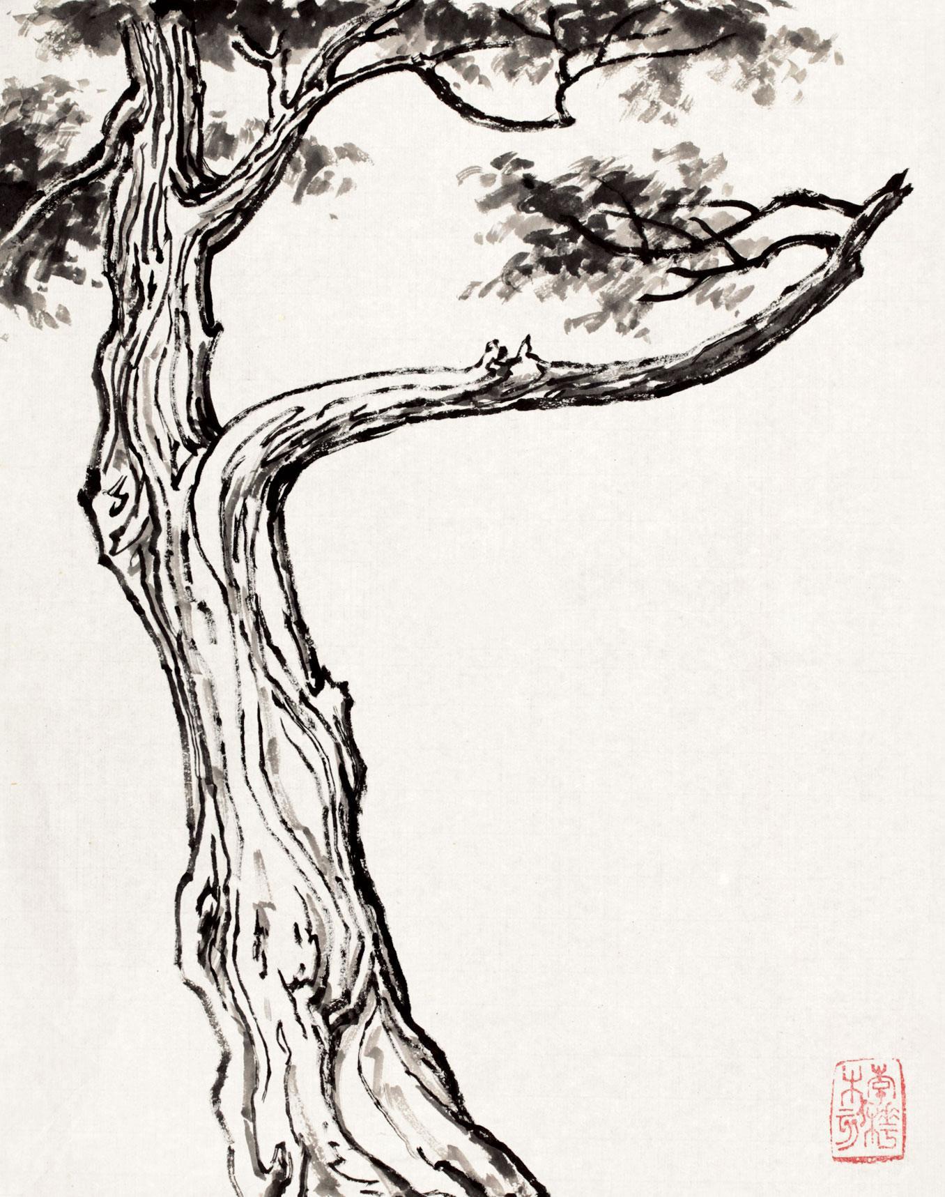 李桦 水墨松树 纸本水墨