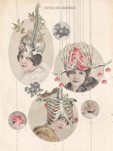 艺术家ffo的拼贴画作品,融合了花卉与解剖两种元素,诡异难解.