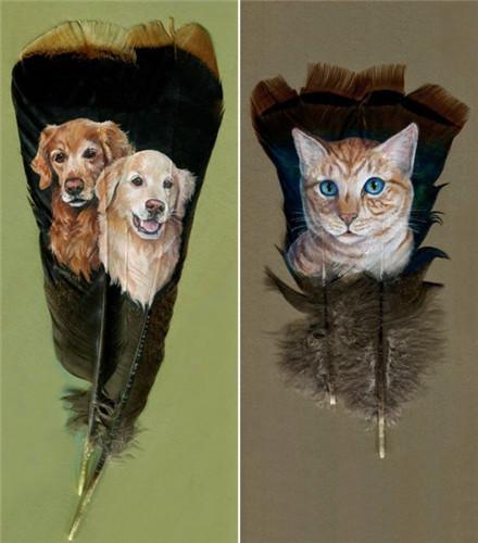 美国女艺术家在火鸡羽毛上创作各种动物肖像画(组图)