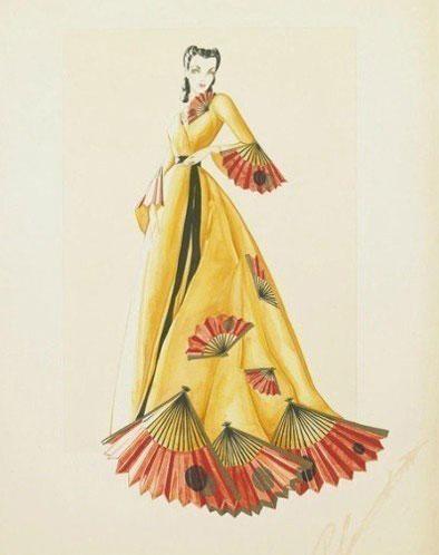 网曝1939年《乱世佳人》服装设计精美手绘图