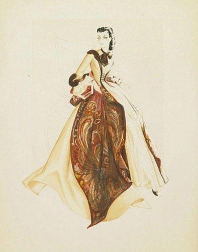 1939版《乱世佳人》服装设计手绘图