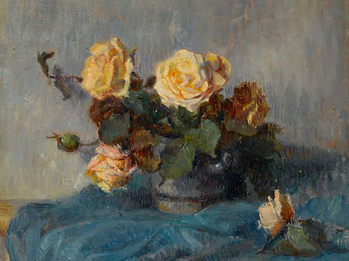 此次上拍场的高更未知早期作品《玫瑰花束》 拍前估价80万--120万英镑(图源自邦瀚斯)