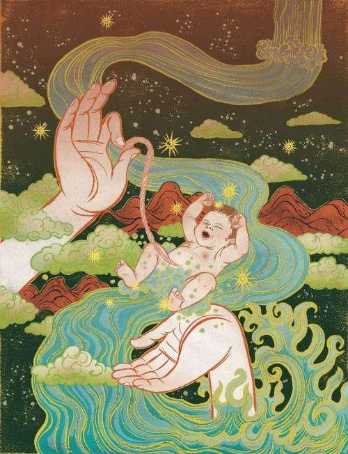 为《精神与健康》杂志设计的插图,采用了浮世绘的经典花纹与佛教的