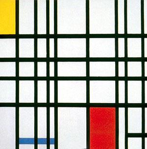 皮特·蒙德里安《黄色,蓝色和红色的组合》,布面油画,72.