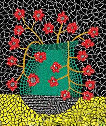 草间弥生《花》,布面丙烯,45.5×38cm,1983年图片