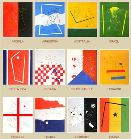 阿根廷艺术家创作以世界杯艺术为主题的绘画欣赏