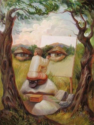 """乌克兰油画家创作超现实主义油画作品: """"画中画""""图片"""