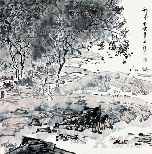 原标题:读伦鑫的山林水墨画 青年山水画家周伦鑫给我的最初印象是