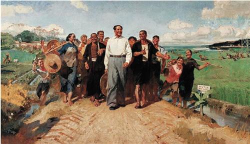 陈衍宁 毛主席视察广东农村 布面油画 172×294cm 1972年 2005年嘉德1012万元成交
