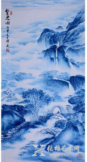 孙才祥先生《野逸图》线条疏密得当,树木与山峰之间层次分明,具有强烈